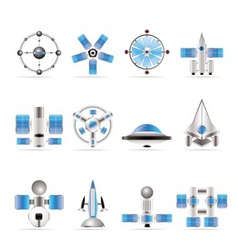 Different kinds of future spacecraft icons vector