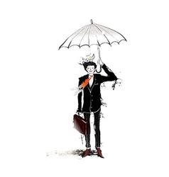 Close-up of man holding umbrella vector