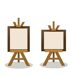 Wooden easel with empty frames vector