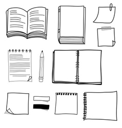 Hand drawing stationary design set vector