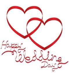 Heart shape ribbon and wedding text vector