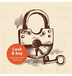 Hand drawn vintage lock and key banner vector