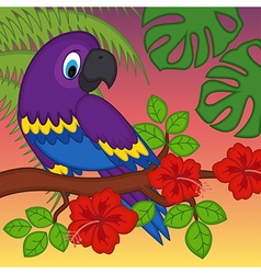 Parrot on branch with flowers vector