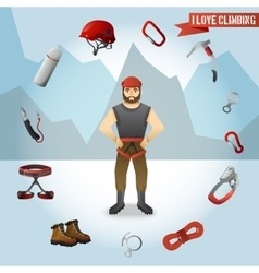 Mountain climber character icons composition vector