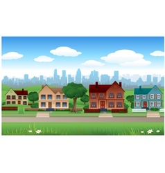House background with cityscape behind vector