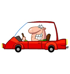 Grinning guy driving a red car vector