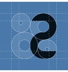 Round engineering font symbol 2 vector