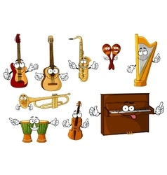 Classic cartoon musical instruments characters vector