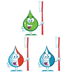 Cartoon droplett with toothbrush vector