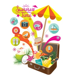 Suitcase with summer objects and icons isolated vector