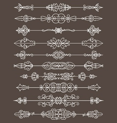 Vintage floral decorative border lines elements vector