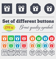 Gift icon sign big set of colorful diverse vector