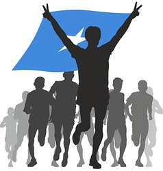 Athlete with the somalia flag at the finish vector