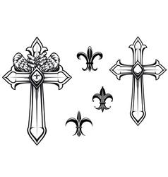 Vintage stone cross with heraldic elements vector