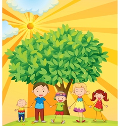 Family under the tree vector