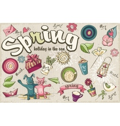 Set of spring colored doodles vector