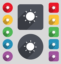 Sun icon sign a set of 12 colored buttons and a vector
