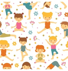 Cute yoga kids seamless pattern vector