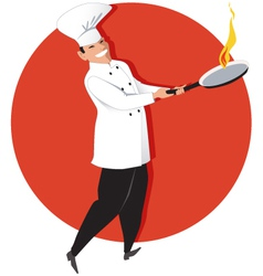 Asian chef cooking vector