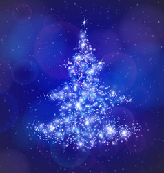 Christmas tree made of light particles vector