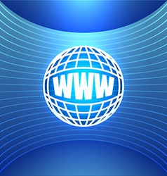 Icon world wide web on the abstract blue vector