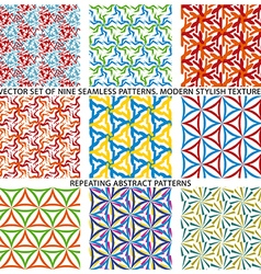 Set of nine textured natural seamless patterns vector