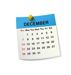 2014 calendar for december vector