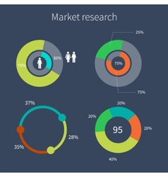 Set of colorful diagrams market research vector