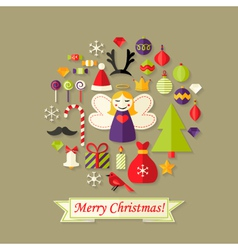 Merry christmas card with flat icons set and angel vector