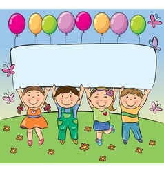 Summer children hold blank banner vector
