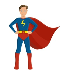 Boy in superhero costume vector