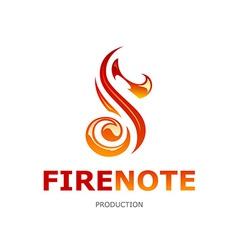 Fire note logo vector
