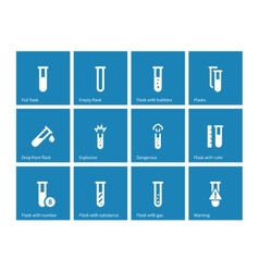 Biochemistry test tube icons on blue background vector