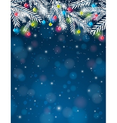 Background with pine twig and christmas ball vector