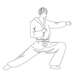 Simple sketch of a man doing martial arts vector