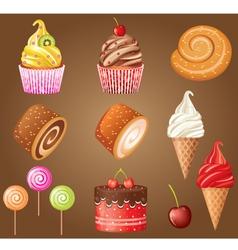 Sweet pastry set vector