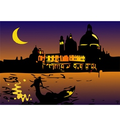 Night in venice with moon vector