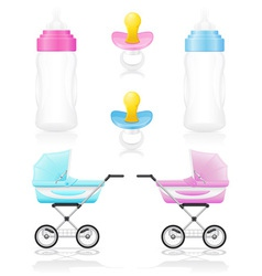 Set icons perambulator bottle pacifier pink and vector