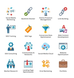 Seo and internet marketing flat icons - set 2 vector