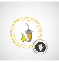 Sketch paper cup with straw and pear vector