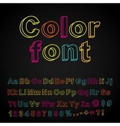 Abstract color hand drawing font vector