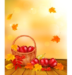 Autumn background with fresh fruit in basket vector