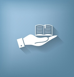 Hand holding a open book sign vector