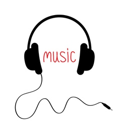 Black headphones with cord and red word music card vector
