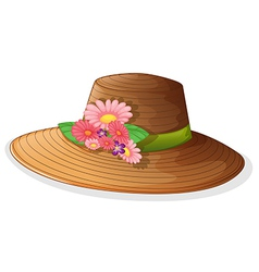 A brown hat with floral decor vector