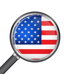 Magnifier with usa flag vector