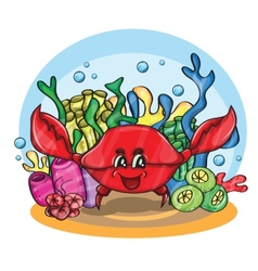 Happy crab in ocean vector