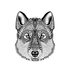Zentangle stylized wolf face hand drawn guata vector