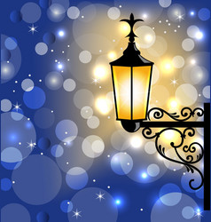 Vintage street lamp dark winter background vector