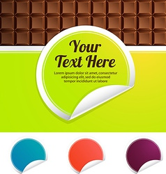 Green label on a background of chocolate color vector
